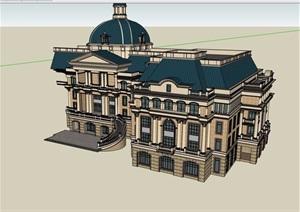 欧式多层办公楼精致设计SU(草图大师)模型