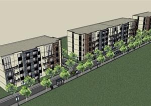 立面多层造型住宅楼设计SU(草图大师)模型