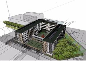 详细的多层学校教育建筑楼设计SU(草图大师)模型