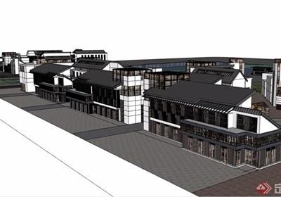 中式风格详细滨水商业多层建筑su模型
