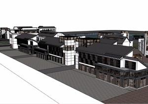 中式风格详细滨水商业多层建筑SU(草图大师)模型