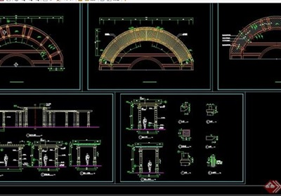 园林景观详细的弧形廊架素材设计cad施工图