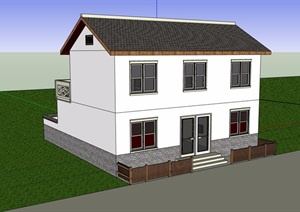 中式风格详细的完整民居住宅楼设计SU(草图大师)模型