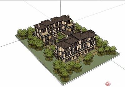 住宅組團別墅詳細完整建筑設計su模型