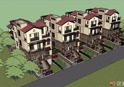 托斯卡納風格獨棟別墅完整設計su模型