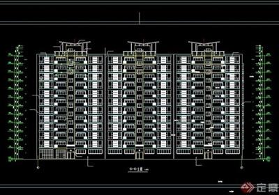 高層一梯4戶住宅樓建筑設計cad方案