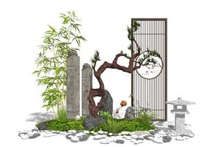 新中式景觀小品 隔斷 假山石頭 景觀樹 草坪組合SU(草圖大師)模型
