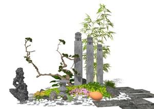 新中式庭院景觀 景觀小品 假山石頭 陶罐 竹子組合SU(草圖大師)模型