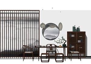 新中式書桌 隔斷 書房 茶室SU(草圖大師)模型