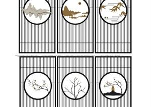 新中式书桌 隔断 书房 茶室SU(草图大师)模型