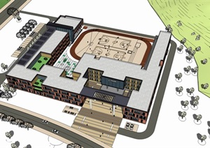 L型校園規劃方案設計SU(草圖大師)模型