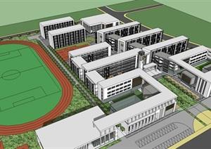 白色調學校整體規劃設計SU(草圖大師)模型