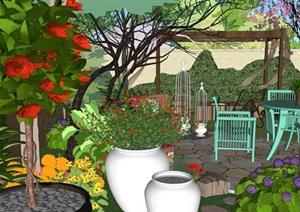 別墅庭院歐式花園SU(草圖大師)精品模型