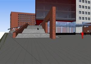简约的现代主义,红砖校园设计