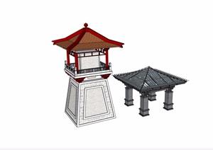 古典中式风格详细的两个亭子素材设计SU(草图大师)模型