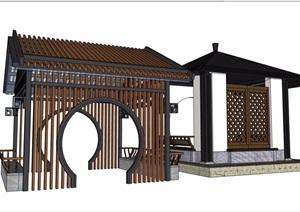 两个中式风格不同的亭子素材设计SU(草图大师)模型