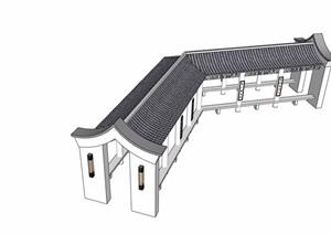 中式风格详细的长廊素材设计SU(草图大师)模型