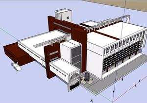 現代風格學校圖書館建筑素材設計SU(草圖大師)模型