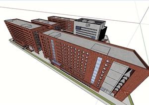 某現代風格詳細的學校教育建筑教學樓設計SU(草圖大師)模型