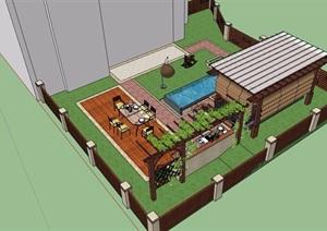 一个私家花园设计SU(草图大师)模型