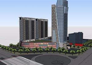 现代商业办公综合楼详细建筑设计SU(草图大师)模型