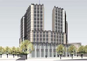 某现代风格详细的高层星级酒店SU(草图大师)模型