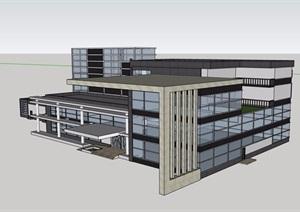 详细的完整图书馆建筑设计SU(草图大师)模型