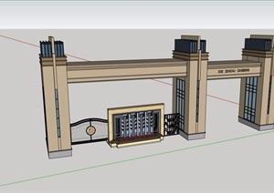 某现代风格详细的小区大门入口设计SU(草图大师)模型