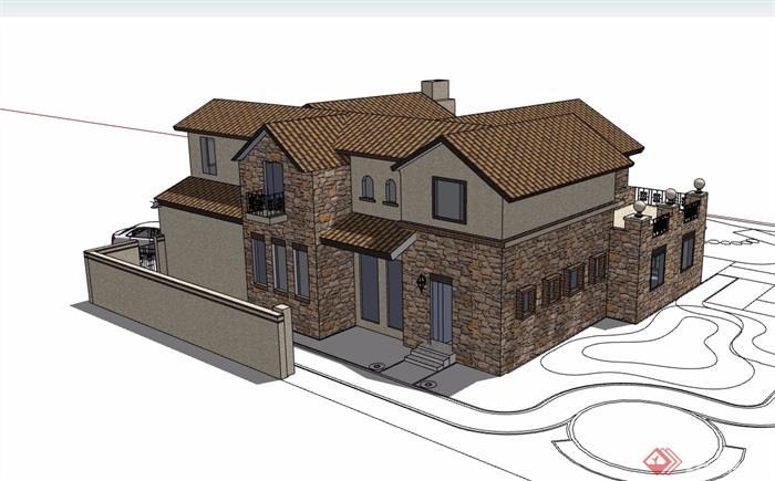 欧式一个小别墅详细完整建筑设计su模型