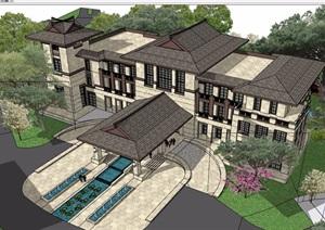 中式风格详细的完整会所详细建筑设计SU(草图大师)模型