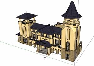 欧式风格详细的整体会所建筑SU(草图大师)模型
