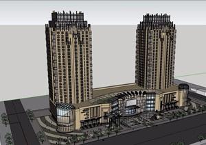 某新古典风格商业住宅楼设计SU(草图大师)模型