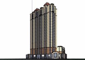 某简欧高层商住建筑设计SU(草图大师)模型