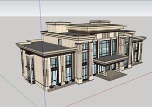 某详细的完整会所建筑楼设计SU(草图大师)模型