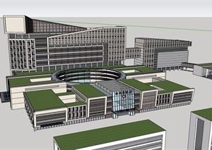 某详细的独特医院建筑楼设计SU(草图大师)模型