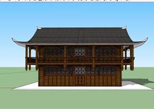 旅游區詳細的吊腳樓設計SU(草圖大師)模型