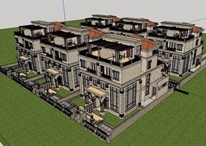 欧式古典别墅群建筑楼设计SU(草图大师)模型