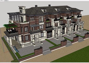 美式排屋别墅详细建筑设计SU(草图大师)模型