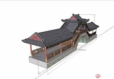 古典中式风格详细的廊桥素材设计su模型
