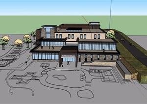某现代风格详细娱乐中心建筑设计SU(草图大师)模型