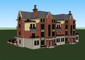 精细英式叠加别墅建筑设计SU(草图大师)模型