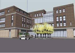 三栋小型办公建筑楼设计SU(草图大师)模型