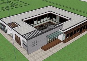 现代风格单层详细的售楼处建筑设计SU(草图大师)模型