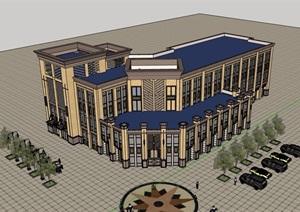 新古典风格详细的多层商业建筑楼设计SU(草图大师)模型
