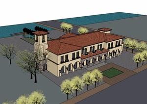 某欧式风格详细的整体售楼处建筑设计SU(草图大师)模型