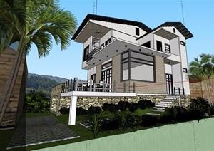 室外小别墅详细完整建筑设计SU(草图大师)模型