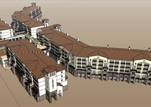 商业欧式详细多层建筑楼设计SU(草图大师)模型