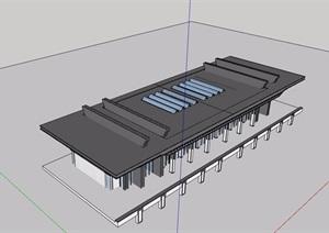 某轻轨站建筑设计SU(草图大师)模型