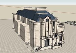 法式六联排别墅详细建筑设计SU(草图大师)模型