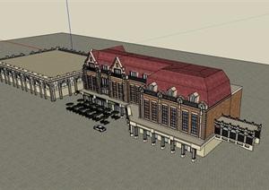 英式商业多层详细完整的建筑楼设计SU(草图大师)模型